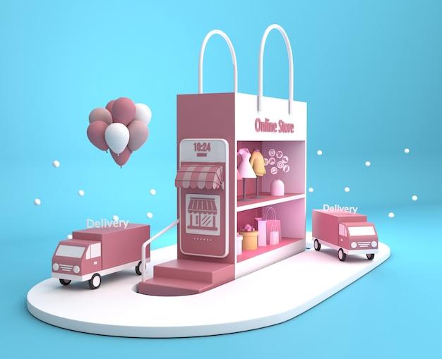 Handel online z samochodami dostawczymi i torbą na zakupy