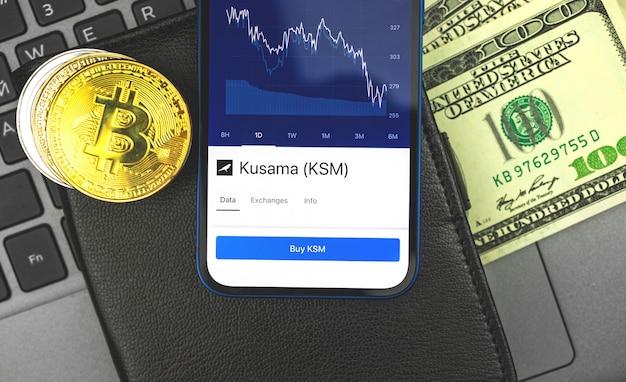 Handel z walutą kryptograficzną kusama ksm, giełdą papierów wartościowych i tle koncepcji bankowości internetowej z monetą bitcoin i dolarami, zdjęcie widoku z góry