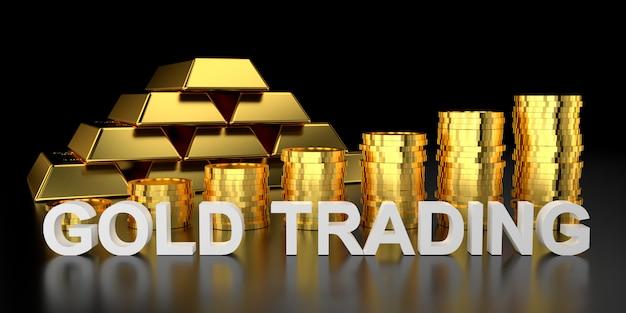 Handel złotem za baner strony. renderowanie 3d sztabek złota.