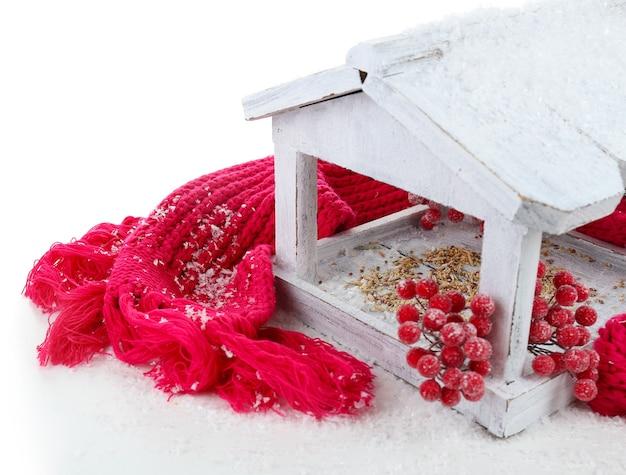 Handmade birdhouse na białym tle