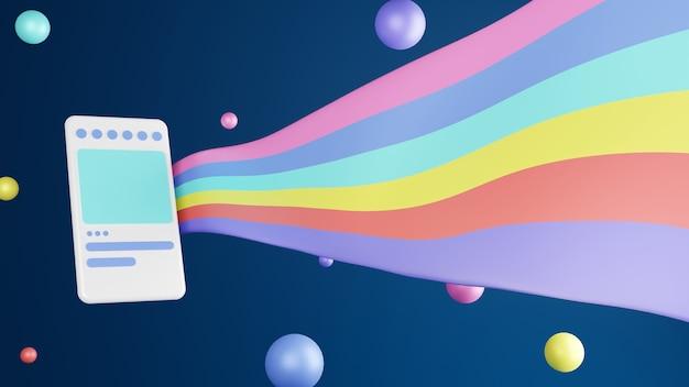 Handphone ilustracja 3d renderująca nowoczesny i modny z kolorowymi balonami i flagą na niebieskim ciemnym tle