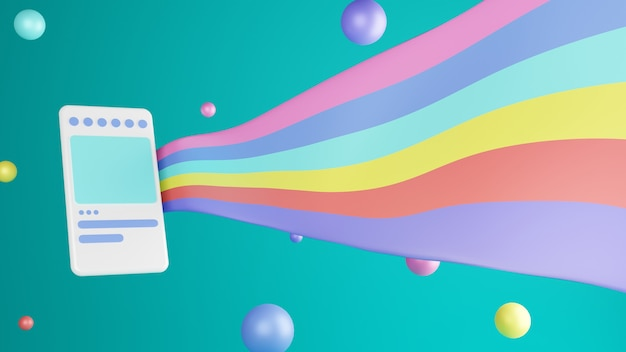 Handphone ilustracja 3d renderująca nowoczesny i modny z kolorowymi balonami i flagą na tle błękitnego nieba