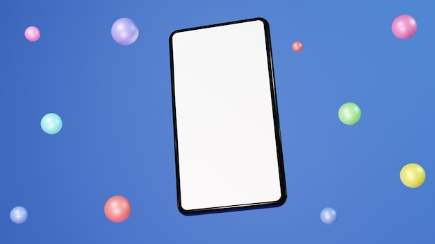 Handphone płaska ilustracja 3d renderująca nowoczesny i modny z kolorowymi balonami na niebieskim tle