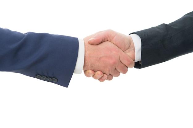 Handshake deal uścisk dłoni na białym tle umowa biznesowa umowa lub współpraca