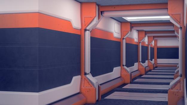 Hangar science-fiction. białe futurystyczne panele z pomarańczowymi akcentami. korytarz statku kosmicznego ze światłem. 3d ilustracja