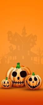 Happy halloween banner. realistyczny obraz dyni pomarańczowy.