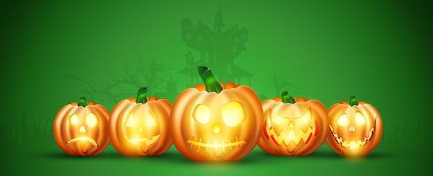 Happy halloween banner. realistyczny obraz pomarańczowej dyni na zielonym tle.
