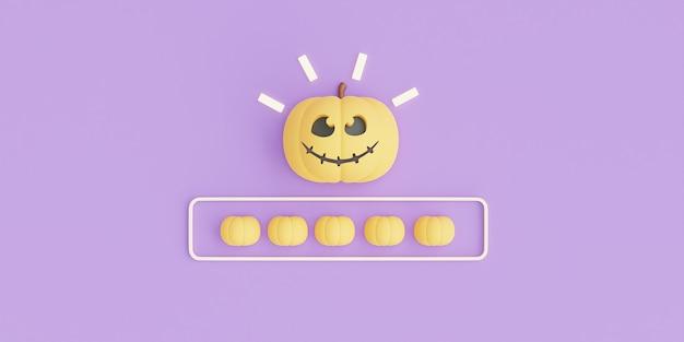 Happy halloween koncepcja, charakter dyni na fioletowy renderowania background.3d.