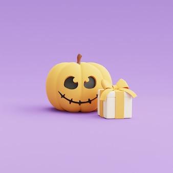 Happy halloween koncepcja, charakter dyni z pudełkiem na fioletowy rendering background.3d.