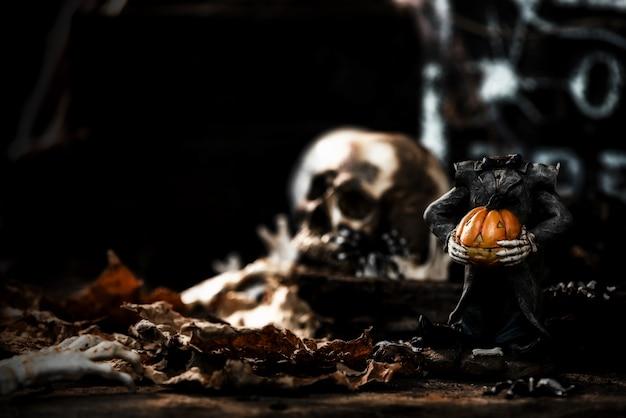 Happy halloween koncepcja. cukierek albo psikus w sezonie jesiennym. straszny i ciemny symbol w nocy.
