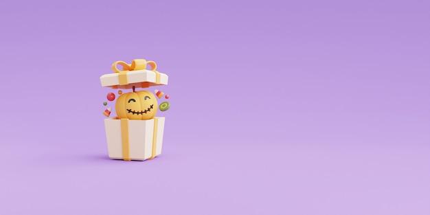 Happy halloween koncepcja, otwarte pudełko na prezent 3d z postaciami z dyni i cukierki na fioletowym renderingu background.3d.