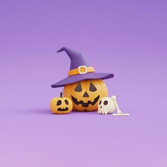 Happy halloween koncepcja, postać z dyni w kapeluszu czarownicy, czaszka, kości. na fioletowym background.3d renderowania.