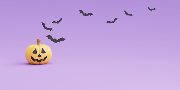 Happy halloween koncepcja z postacią dyni i nietoperza na fioletowym renderingu background.3d.