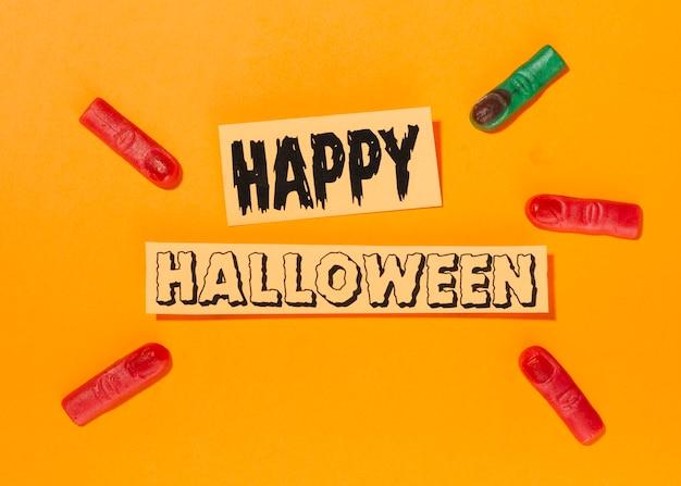 Happy halloween napis ze sztucznymi palcami