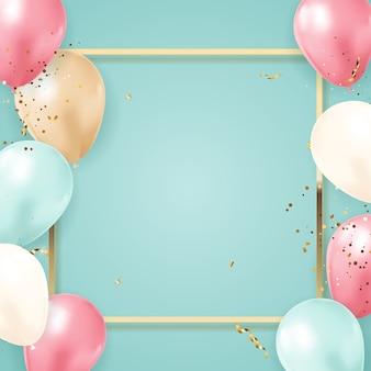 Happy party urodziny tło z realistycznymi balonami