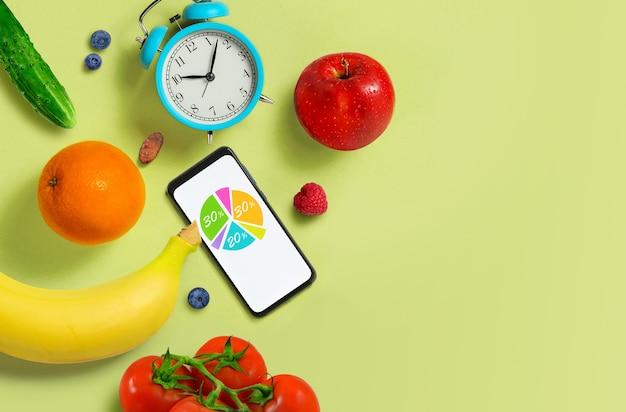 Harmonogram prawidłowego odżywiania. zdrowe odżywianie dieta koncepcja schemat żywności. jedzenie wegetariańskie. skopiuj miejsce.