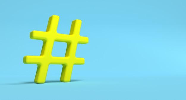 Hashtag symbol na tle. ilustracja koncepcja sieci mediów społecznościowych. renderowanie 3d.