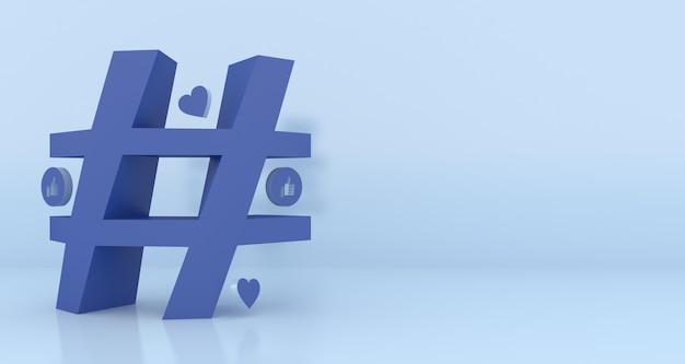 Hashtag symbol renderowania 3d z miejsca na kopię
