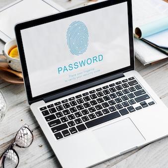 Hasło blokada dostępu kłódka ochrona prywatności koncepcja bezpieczeństwa