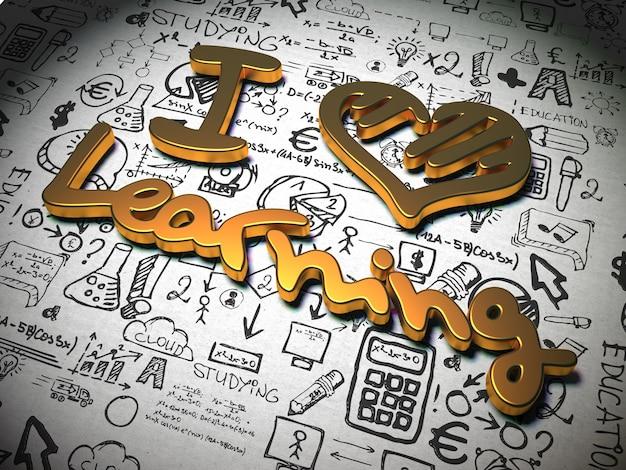 """Hasło """"i love learning"""" wykonane z metalu na tle z odręcznymi postaciami"""