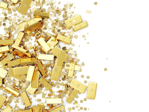 Heap of treasure golden bars monety i złote kawałki na białym tle