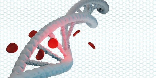 Helisa dna struktura życia i czerwone krwinki ilustracja 3d