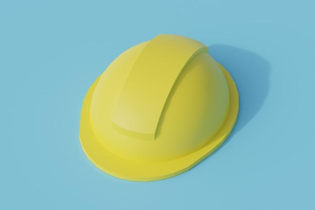 Hełm ochronny pojedynczy izolowany obiekt. 3d render ilustracji izometryczny