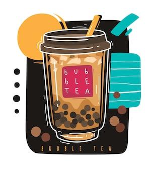 Herbata z bąbelkami. popularny tajwański słodki napój bąbelkowa herbata, azjatycka perłowa mleczna boba z kulkami, słynny letni azjatycki koktajl mleczny w płynie, animowany plastikowy plakat promocyjny ze szkła na wynos