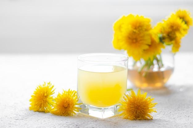 Herbata z mniszka lekarskiego. żółte kwiaty letnie mlecze. tea party domowy napój. certyfikowana herbata kwiatowa. artykuł o herbatach. artykuł na temat gorących napojów