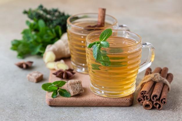 Herbata zielona lub ziołowa z miętą i tymiankiem, cynamonem, anyżem i imbirem. herbata miętowo-tymiankowa.