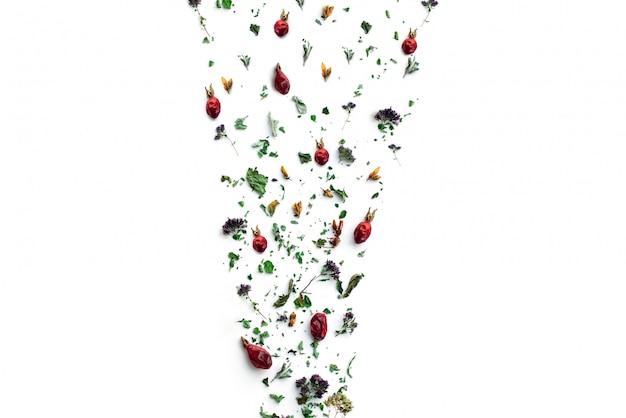 Herbata ziołowa, suche rośliny i kwiaty, oregano i witaminowy napój witaminowy w lnianej torbie, izolowanie, miejsce na tekst, miejsce.