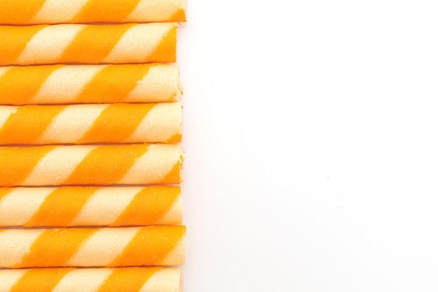 Herbatniki waflowe w sztyfcie o pomarańczowym smaku śmietany