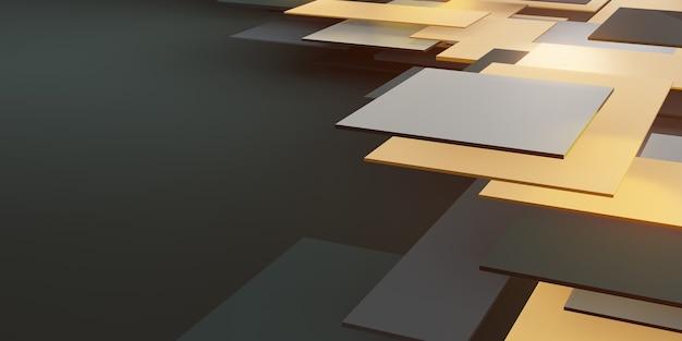 Hierarchiczne tło złote i czarne geometryczne płytki streszczenie kwadratowa ilustracja 3d