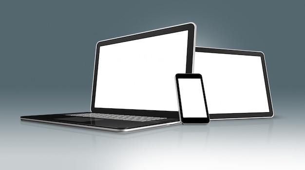 High tech laptop, telefon komórkowy i cyfrowy tablet pc