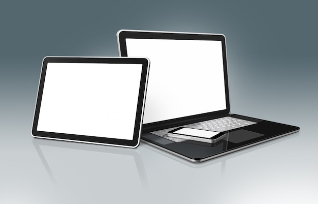 High tech laptop, telefon komórkowy i tablet cyfrowy