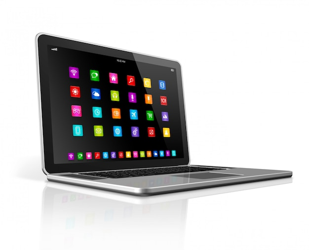 High tech laptop z interfejsem ikon aplikacji