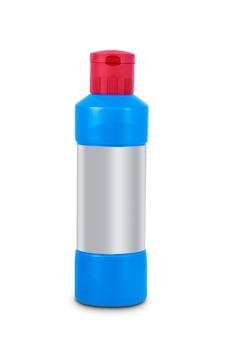 Higiena sanitarna, butelka płynu do czyszczenia na białym tle