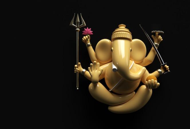 Hinduski bóg ganeśa statua - hinduska religia festiwal koncepcja słoń. ilustracja renderowania 3d.