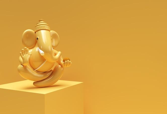 Hinduski bóg ganesha statua - hinduska religia festiwal koncepcja słoń. ilustracja renderowania 3d.