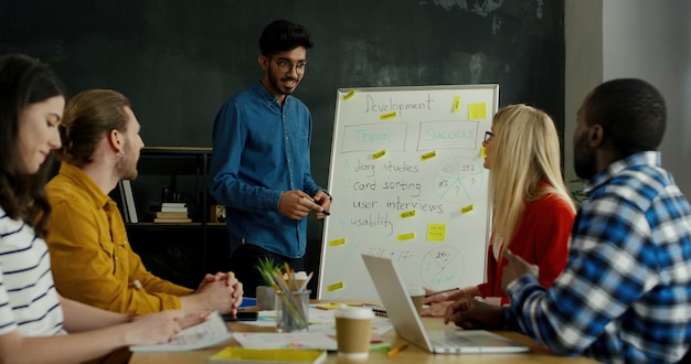 Hinduski młody człowiek uczy strategii biznesowej i rozwoju mieszanej rasy studentów i studentek.