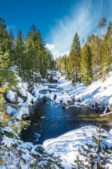 Hipnotyzujące ujęcie pięknego śnieżnego skalistego parku wokół jeziora na tle góry
