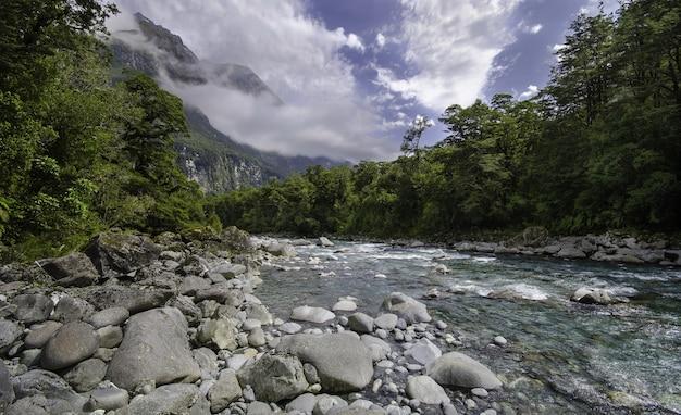 Hipnotyzujący widok na rzekę przepływającą przez skały przez las pod malowniczym niebem