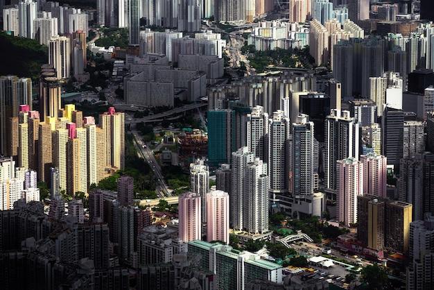Hipnotyzujący widok z lotu ptaka hongkongu hongkongu
