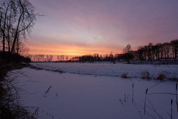 Hipnotyzujący zachód słońca w pobliżu historycznego zamku doorwerth zimą w holandii