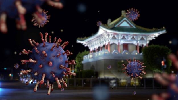 Historyczna wschodnia brama tajpej jingfu nocą z koncepcją coronavirus 2019