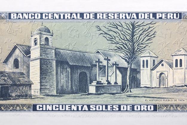 Historyczne miasto tinta ze starych peruwiańskich pieniędzy