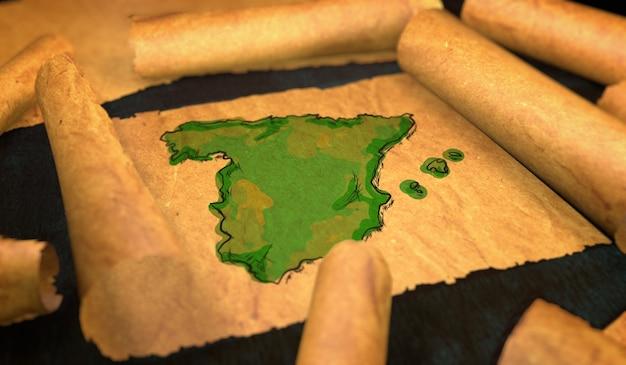Hiszpania malowanie mapy rozłożenie starego przewijania papieru 3d