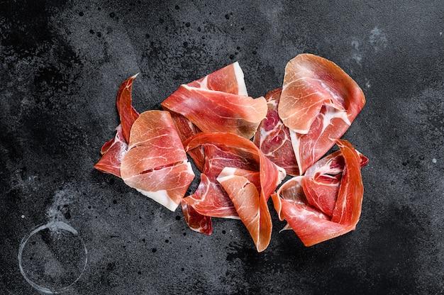 Hiszpański jamon serrano, szynka., widok z góry