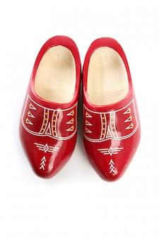 Holenderscy holandia czerwoni drewniani buty odizolowywający