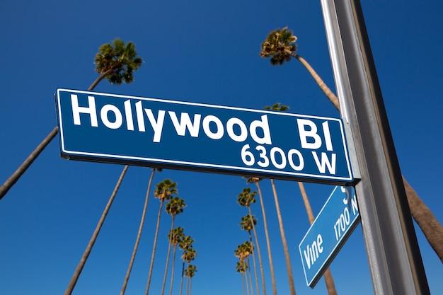 Hollywood bulwar z szyldową ilustracją na drzewkach palmowych
